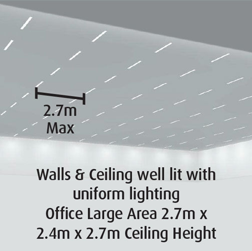 Walls & Ceiling well lit with uniform lighting Office Large Area 2.7m x 2.4m x 2.7m Ceiling Height