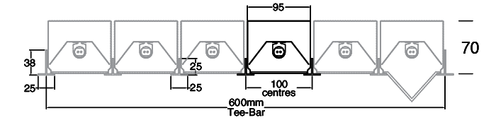 Position options along 600mm Tee-Bar