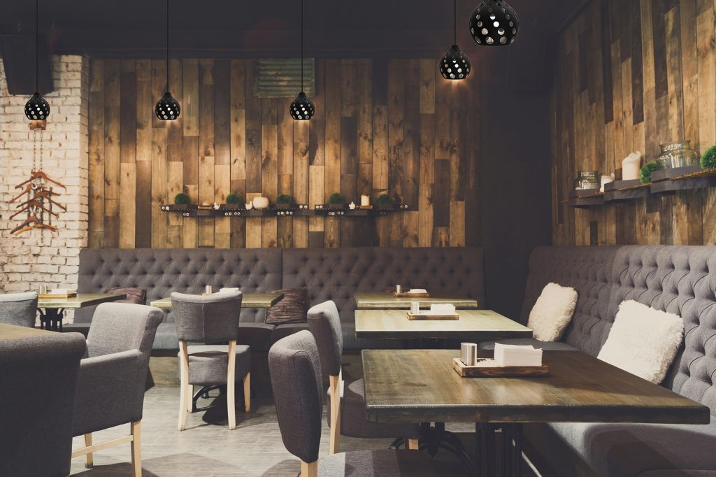 Cozy wooden interior of restaurant, copy space