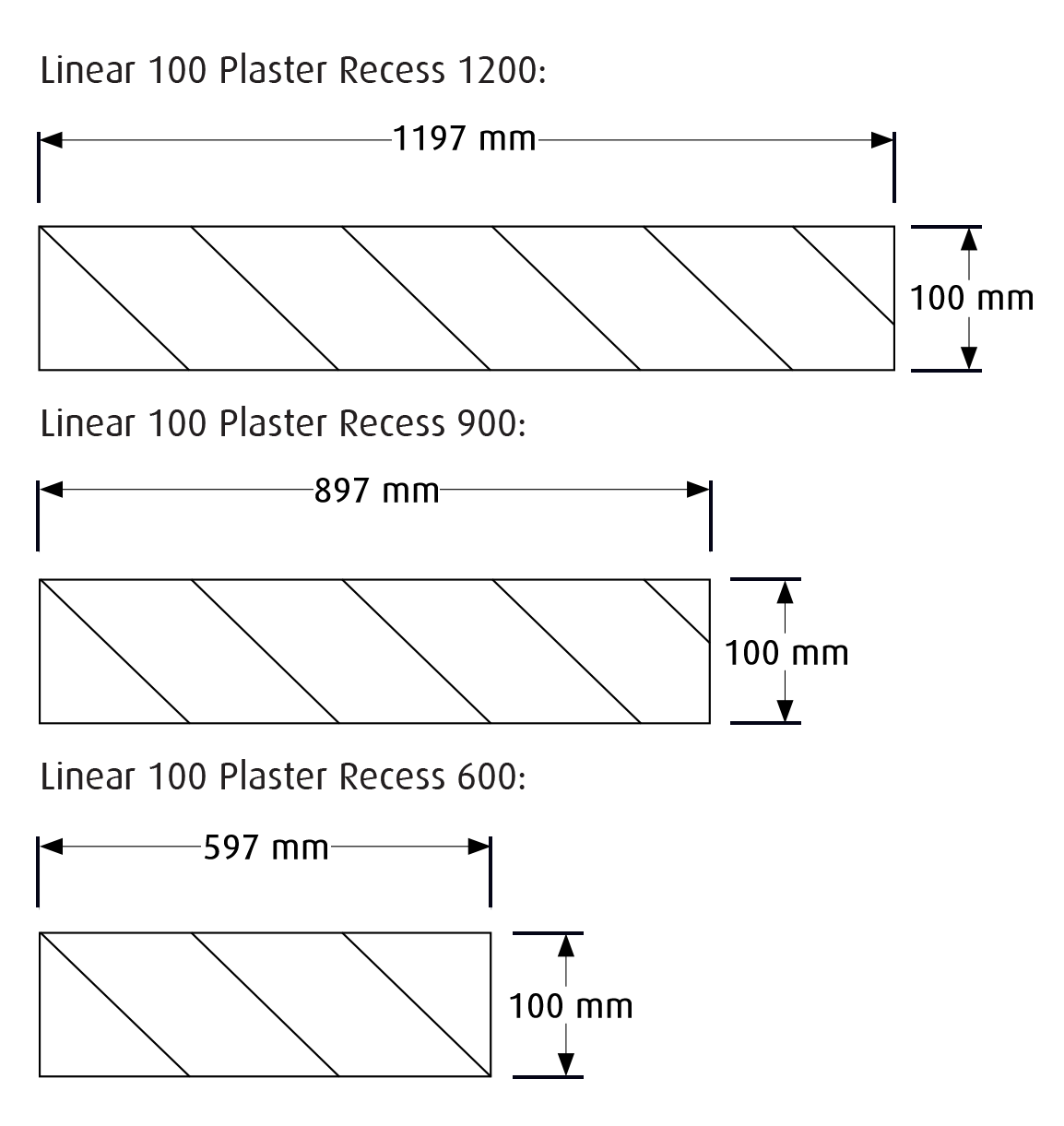 Plaster cut out dimensions